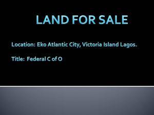 Land for sale eko atlantic city Eko Atlantic Victoria Island Lagos