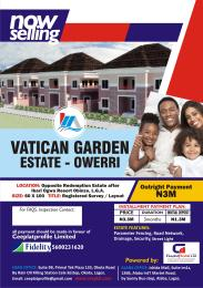 "Residential Land Land for sale ""Owerri New Town"" development Project.(Vatican Garden Estate), Obinze along Owerri-Potharcourt Expressway. About 3 minutes drive from Ibari Ogwa Resort. Owerri Imo"